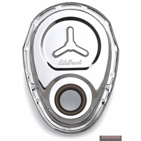 Chromowana osłona rozrządu Chevrolet - Edelbrock